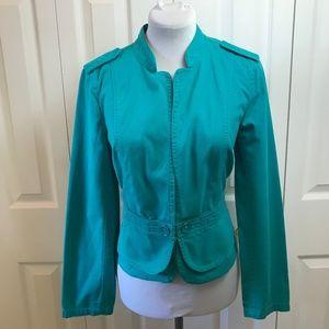 LOFT Turquoise Military Jacket Casual Blazer  M